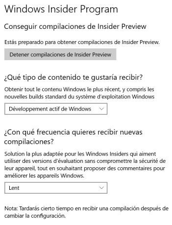 Pantalla configuración windows insider