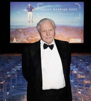 David Attenborough presentando su obra The Great Barrier Reef