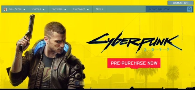 Cyberpunk 2077 pre-purchase banner - STEAM Platform capture