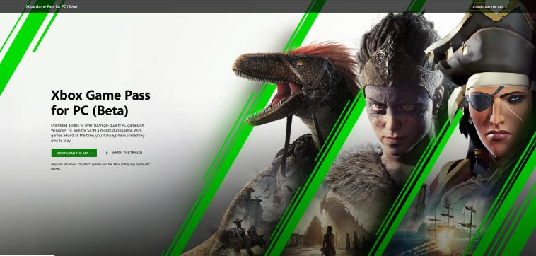 XBOX Game Pass for PC - XBOX Page