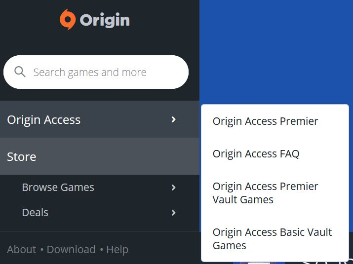 Origin Access options - Captura de pantalla