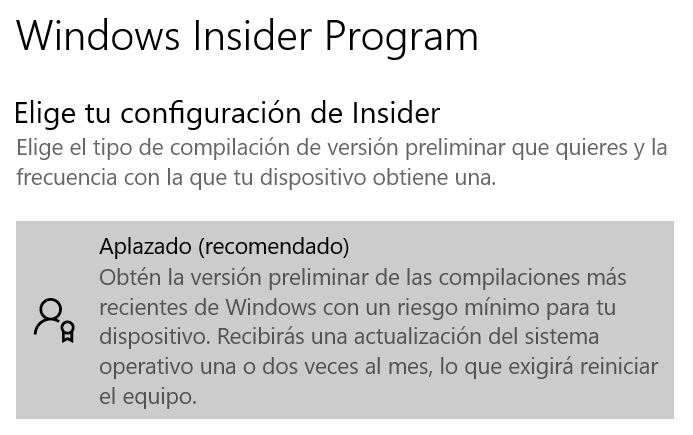 Pantalla Windows Insider Program - Captura de pantalla