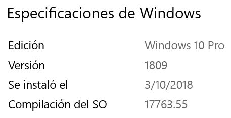 Windows Versión 1809