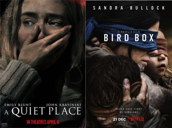 Afiches The Quiet Place y Bird Box