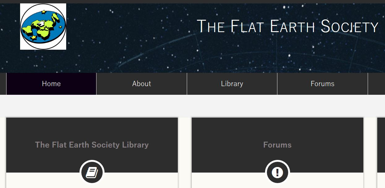 Flat Earth Society Webpage capture