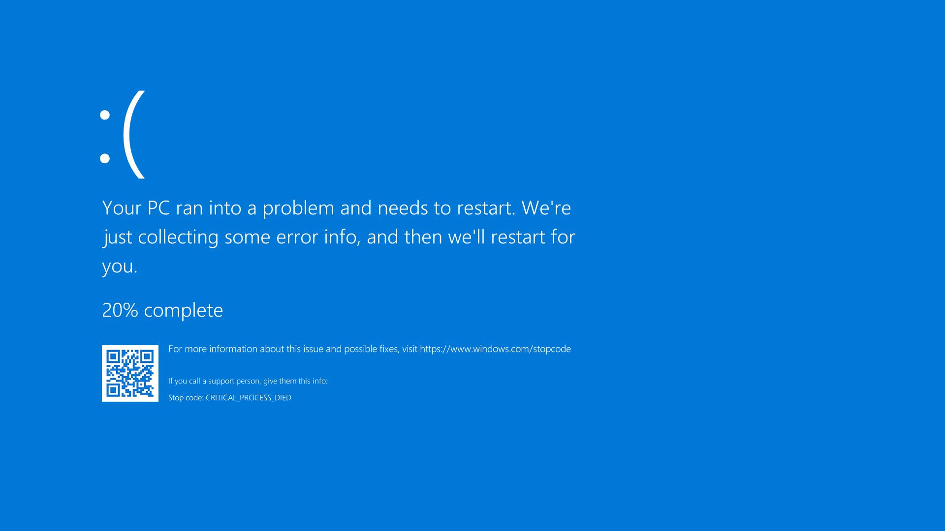 Ejemplo de pantalla azul