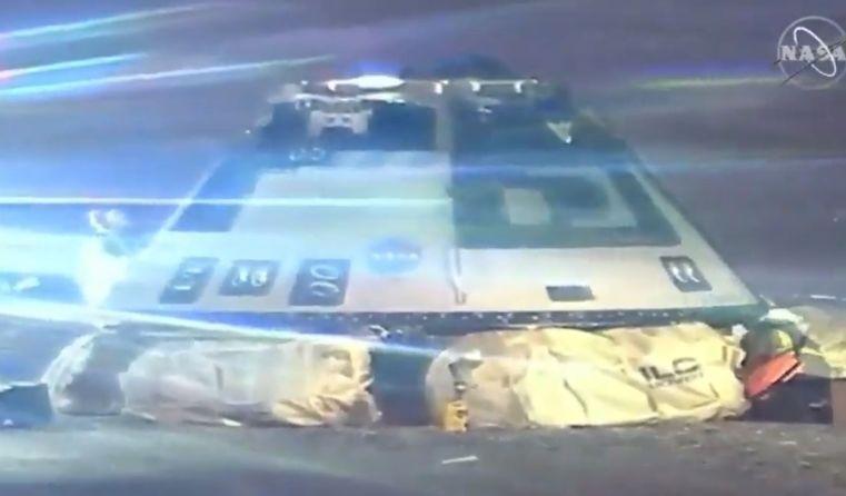Capsula Starliner sobre sus aibags - live videostreaming NASA