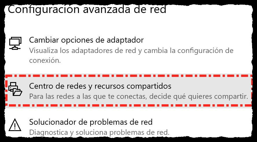 Configuración avanzada de red - Captura de pantalla bajo Windows