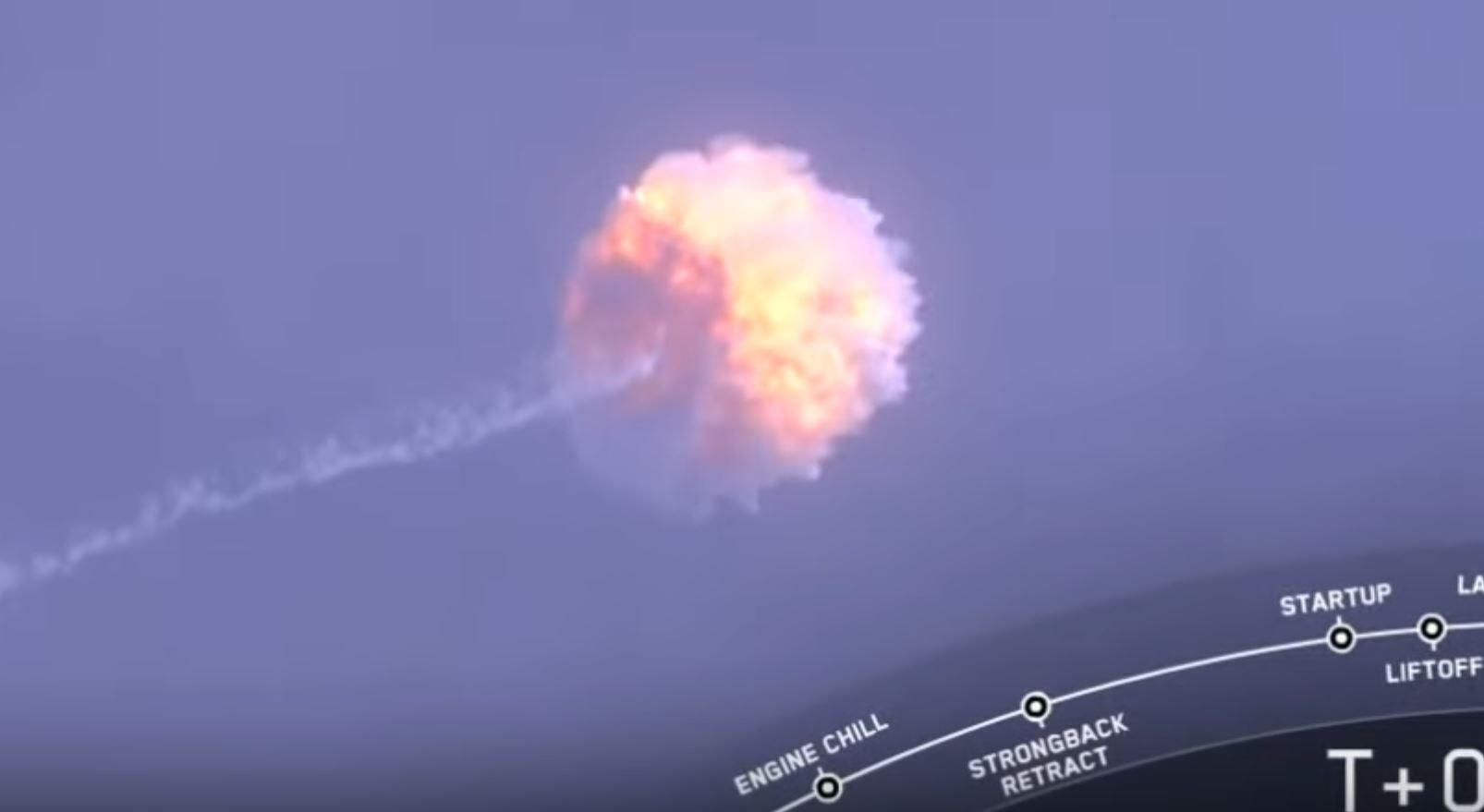 SpaceX Abort Mission - Intentional explosion of launcher - SpaceX video Screen Capture
