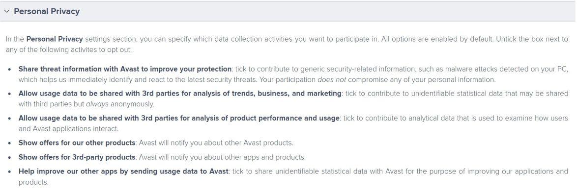 Detalle opciones de privacidad personal AVAST - Captura de pantalla