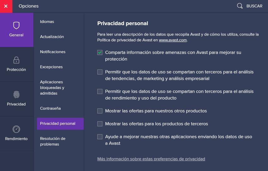 Opciones de privacidad personal AVAST - Captura de pantalla