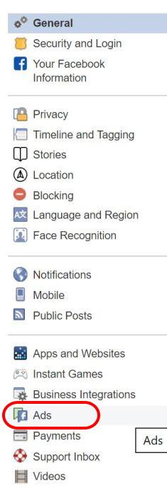 Acceso a personalización Facebook Ads - Captura de pantalla
