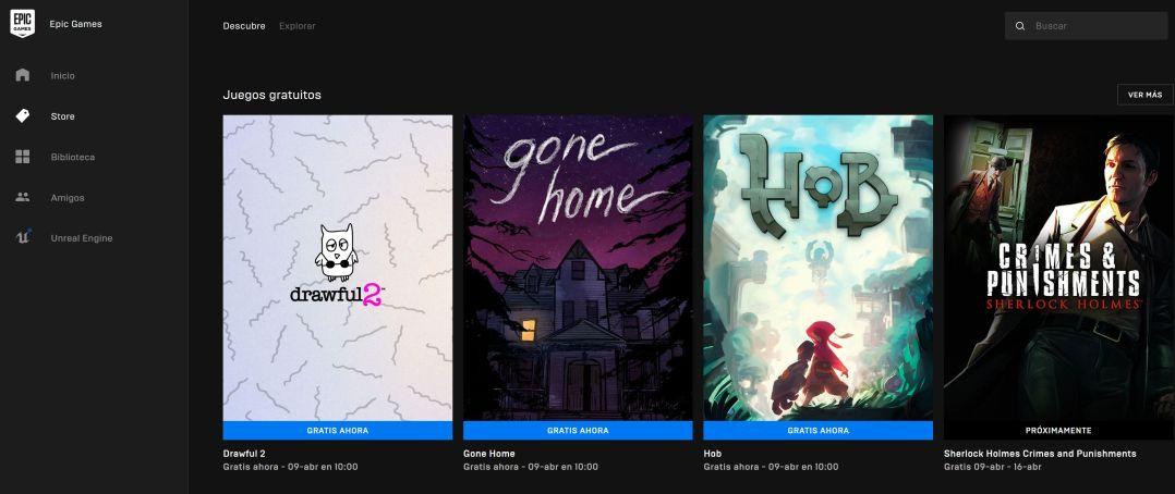 EPIC Games - Juegos gratuitos - Captura de pantalla aplicación EPIC Games