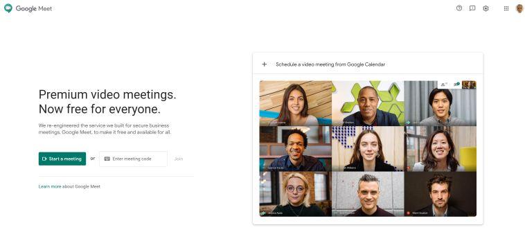 Pantalla de inicio de Google Meet - Captura de Pantalla
