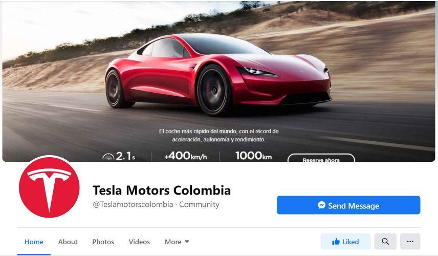 Captura de pantalla pagina Facebook de Tesla Colombia