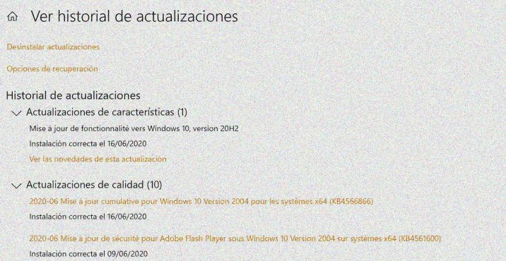 Actualización de Windows en la neblina - Captura de pantalla en Windows actualización