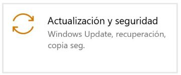 Ir a Actualización y seguridad - Captura de pantalla en Windows