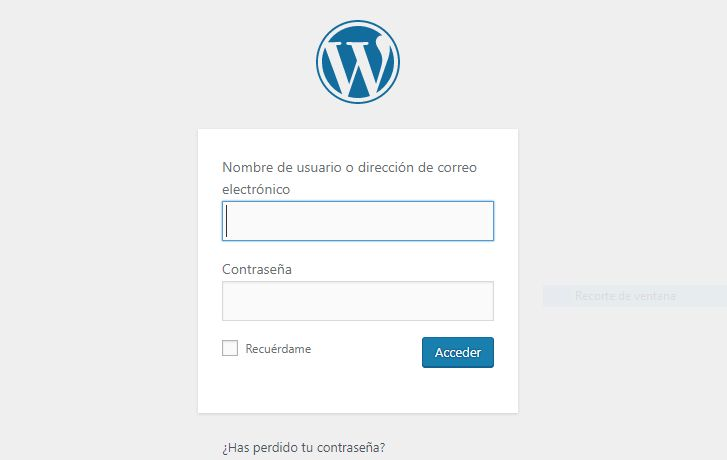Internet: Pantalla Login de WordPress - Captura de pantalla