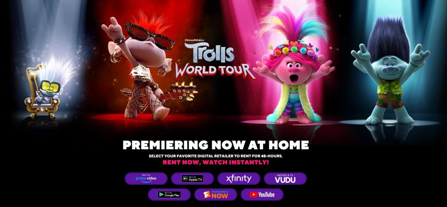 Promoción Cinema Online de Trolls World Tour - Captura de pantalla sitio web Universal Pictures