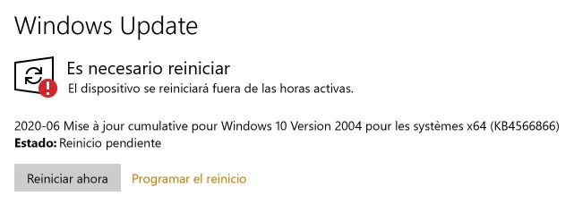 Reinicialización necesaria - Captura de pantalla en Windows