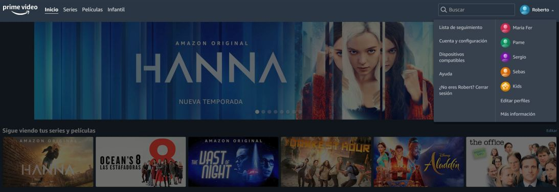 Amazon Prime con perfiles múltiples - Captura de pantalla