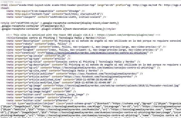 Código fuente de una página - Captura de pantalla