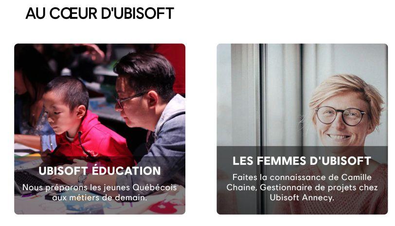 Les femmes d'Ubisoft - Capture d'écran site web en français de Ubisoft