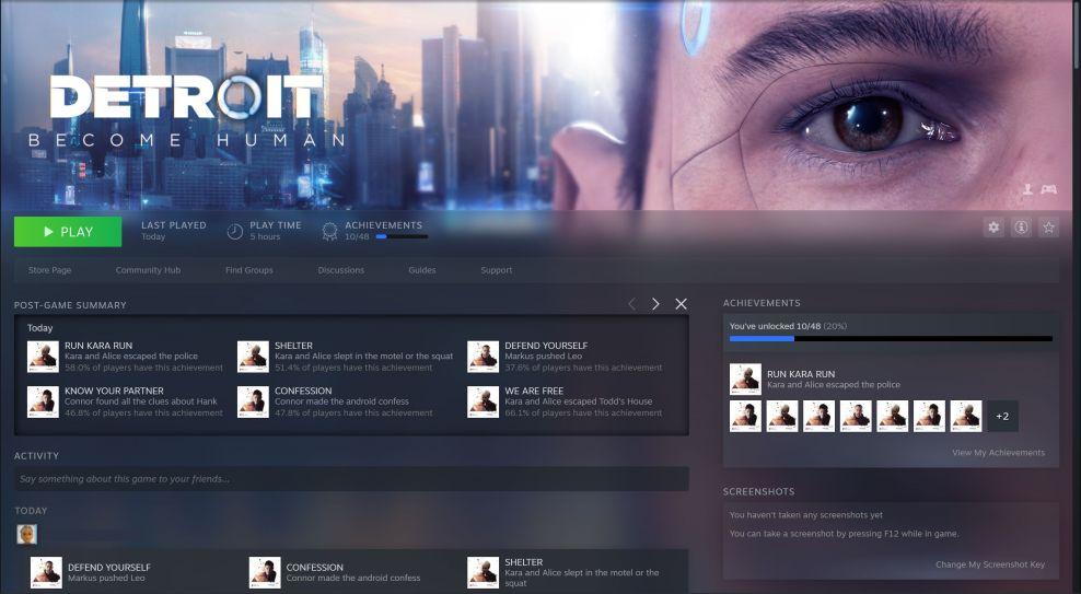 Logros en Detroit Become Human on Steam - Captura de pantalla