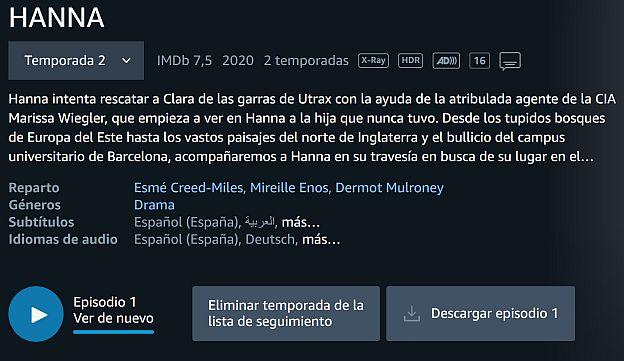 Un botón Descargar Episodio en Amazon Video - Captura de pantalla