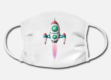 Una mascarilla con un cohete - Producto comercial