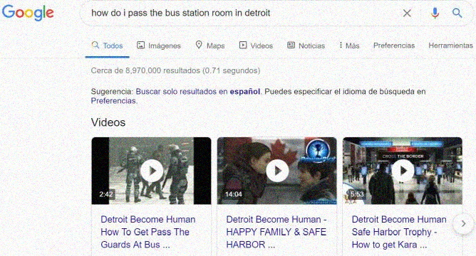 "Ayuda o ""Walkthrough"" en Detroit Become Human - Captura de pantalla de busqueda en Google"