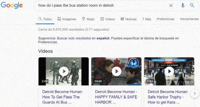 """Ayuda o """"Walkthrough"""" en Detroit Become Human - Captura de pantalla de busqueda en Google"""