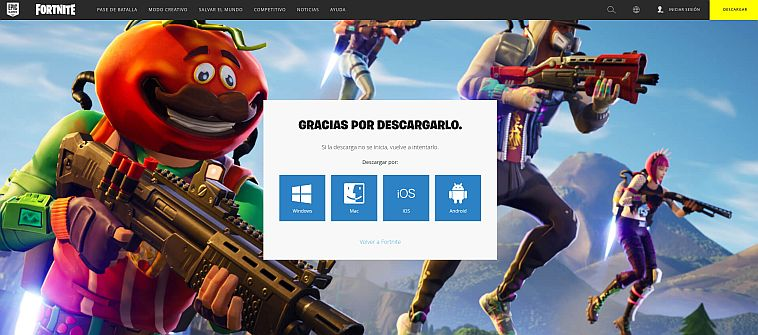 Captura de pantalla Pagina de Fortnite - Origen Epic Games
