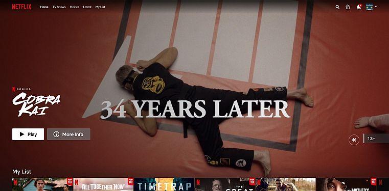 Captura de pantalla trailer de Kobra Kai en Netflix