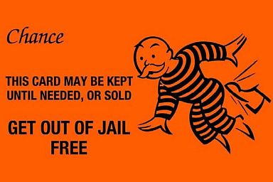 Get out of Jail Free Monopoly Gamecard - Origin Hasbro