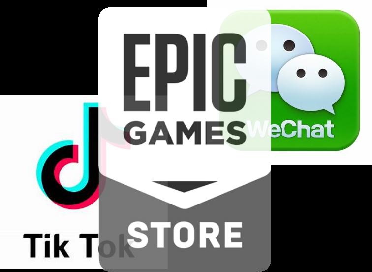 Videojuegos - Logos entrelazados - Orígenes Epic Games/TikTok/WeChat