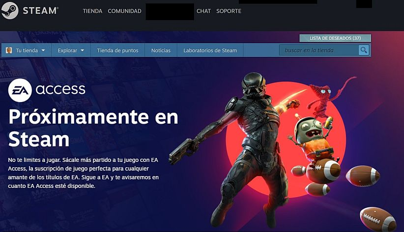 "Prepromoción de Electronic Arts ""EA Access"" en Steam - Captura de pantalla sitio web de Steam"