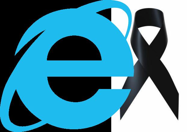 RIP Internet Explorer - Composición a partir del logo de Microsoft IE
