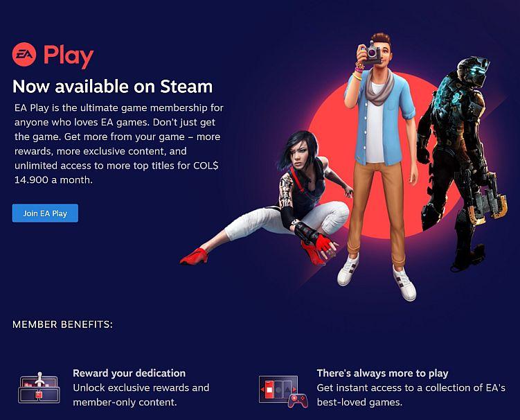 EA Play on Steam - Captura de pantalla en aplicación Steam