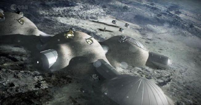 Representación artística de la futura Estación Lunar Europea - Origen ESA