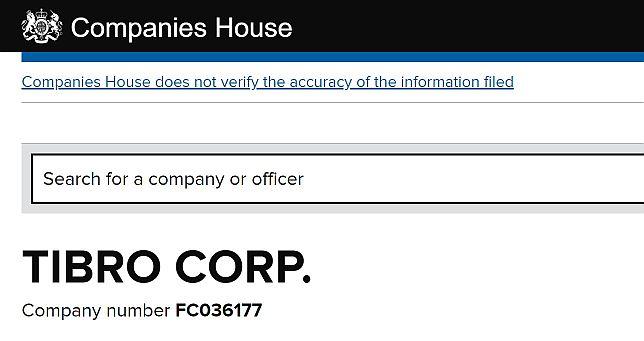 Captura de pantalla sitio web de Companies House - TIBRO CORP