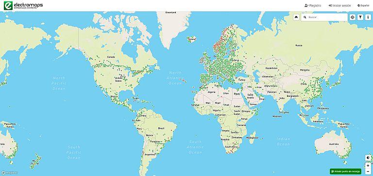 Estaciones de recarga - Mapa Electromaps - Captura de pantalla
