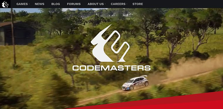 Sitio web de Codemasters - Captura de pantalla