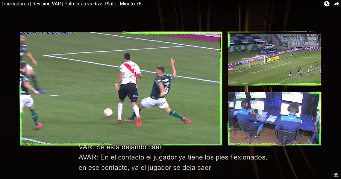 Imperfecto futbol - Error de VAR en partido Palmeira - River - Captura de pantalla sitio CONMEBOL
