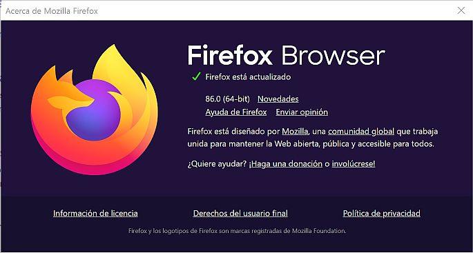 A cerca de Firefox 86.0 - Captura de pantalla navegador