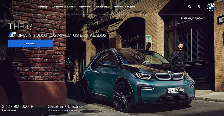 Captura de pantalla sitio Web BMW Colombia - Autos eléctricos