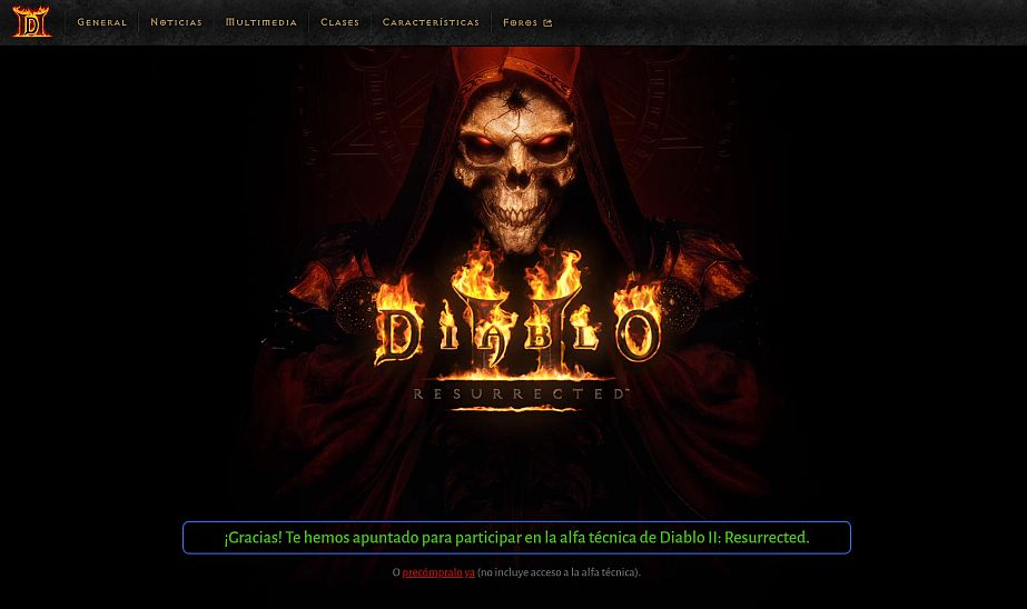 Diablo II resurrected announcement - Captura de pantalla pagina web de Blizzard
