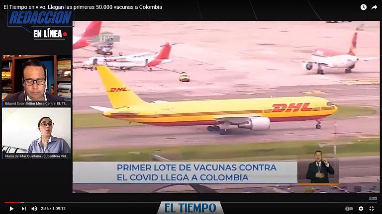 Vacunas COVID-19 - El avión de DHL en el aeropuesto El Dorado el 15 de febrero de 2021 - captura de pantalla video El Tiempo