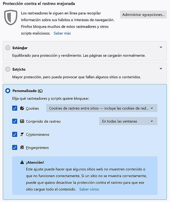 Gestión de rastreadores por Firefox 86 - Captura de pantalla navegador