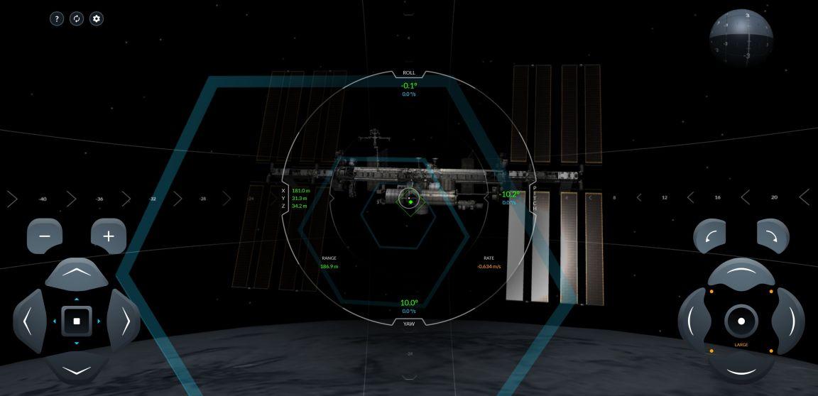 Amarrarse a la ISS - Captura de pantalla en la simulación de SpaceX